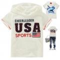 HGE USA  Sport White Hoodie Top 米白色字母贴布印花纯棉前袋带帽短袖