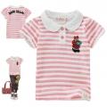 HLT Bear Pink Stripe Tee 欢乐兔粉红小熊贴布纯棉有领短袖
