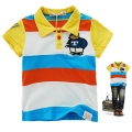 HLT Bear Stripe Collar Tee 欢乐兔金黄色小熊贴布纯棉有领短袖
