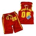 HOO Boy Sporty Red 2 Pcs Set 外贸红色字母印花纯棉套装