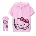 Hello Kitty Pink 2 Pcs Set for Adult 印花纯棉套装 (Design 1)
