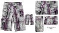 JAILLE SRK Purple Checker Smart Quarters Pant 紫色格子绣花梭织七分裤