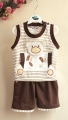 JEEMY Bear Brown Stripe 2 Pcs Set 立体小熊熊套装【咖啡】