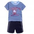 KITCHOUN Blue Stripe 2 Pcs Set 字母印花纯棉裤套装