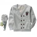 Korea Boy Grey Sweater 韩单灰色章仔贴布磨毛加绒开扣衫
