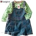 Ladybird Blue Jeans Overalls 2 Pcs Set 原单全棉长T吊带裙套装 绿色