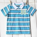 Little Rebels No.86 Blue Stripe Collar Tee 原单男童反领单T