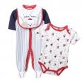 MR BIRD Boy 3 Pcs Set (Design 1) 外贸/蓝色条纹小熊印花纯棉三件套