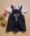 M&CO Bird Jeans Overalls Dress Set 小鸟全棉背带裙套装