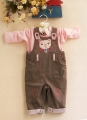 M&CO Cutie Kitten Brown Overalls Set 可爱猫咪背带裤套装