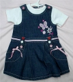 M&CO Embroidery Butterfly Blue Overalls Dress Set 刺绣蝴蝶蓝色背带裙套
