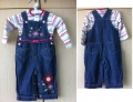 M&CO Emroidery Sweet Flowers Jeans Overalls Set 可爱绣花女童吊带长裤套装