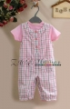M&CO Lace Pleat Checked Overalls Set 小方格花边短袖两件套