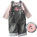 M&CO Little Bird Jeans Overalls Set 可爱小鸟纯棉套装