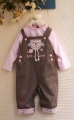 M&CO Little Tweet Brown Overalls Set 小猫头鹰长袖背带裤套装