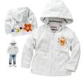 Miki House  Bear White Hoodie Jacket 米白色小熊贴布绣花灯芯绒拉链带帽外套