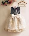 Miniwa Elegant Beige Dress 镶钻大蝴蝶结轻纱洋装【杏】
