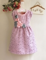 Miniwa Elegant Roses Polkadots Pink Dress 玫瑰花小点点洋装【粉】