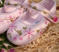 Mothercare Embroidery Flowers Pink Pram Shoe 粉色绣花鞋