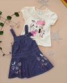 Next Butterfly Denim Overalls Dress 花蝴蝶刺绣背带裙