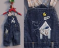 Next Puppy In House Jeans Overalls 贴布绣背带裤