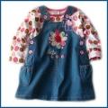 Nova 2 Pcs Little Flower Jeans Overalls Dress 全棉长T牛仔背心裙两件套 圆点花朵款