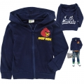 OLIVE CLUB Angry Bird Navy Blue Hoodie Jacket 深蓝色愤怒小鸟纯棉带帽外套 (Des