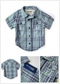OSHKOSH Blue Checked Shirt 男童短袖衬衫格子衬衣