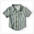 OSHKOSH Green Stripe Shirt 男童短袖衬衫格子衬衣