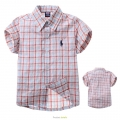 POLO Blue/Orange Checker Collar Shirt 细红蓝梭织短袖