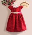 QUQI Red Party dress with 3 Roses Waist Line 立体花花呢子料洋装【红】