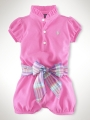 RALPH LAUREN Cherry Pink Romper with Floral Belt 玫粉色哈衣配腰带