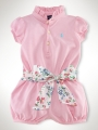 RALPH LAUREN  Pink Romper with Floral Belt 粉色哈衣配腰带