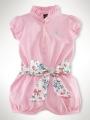 RALPH LAUREN  Pink Romper with Floral Belt 粉色哈衣配腰带