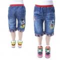 SCB Mickey Mouse Quarters Denim Pant 米奇贴布绣花纯棉洗水牛仔中裤 (Design 7)