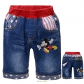 SCB Mickey Mouse Quarters Denim Pant 米奇贴布绣花纯棉洗水牛仔中裤 (Design 10)
