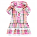 SHINE YANE Pink Checker Hoodie Dress 外贸桔红色格子带帽公主裙