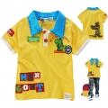 Sago Kids Dino Yellow Collar Tee 浅金黄恐龙贴布印花纯棉有领短袖