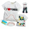 Sago Kids I Love Ponies White Top 米白字母绣花短袖