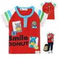Sago Kids 'Smile Donut' Red Tee 水红色长颈鹿贴布印花纯棉短袖