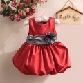 Sara Flower Belt Red Tutu Dress 花腰带蓬蓬裙