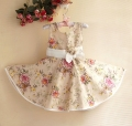 Sara Kids Floral Beige Dress 蝴蝶结大花花洋装【杏黄色】