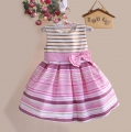 Sara Kids Stripe Princess Dress 蝴蝶结条纹公主裙