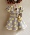 Sara Kids Yellow Polkadots Grey Dress 蝴蝶结大黄点点洋装