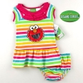 Sesame Street Rainbow Stripe 2 Pcs Dress Set 彩色条纹裙子