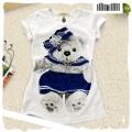 B2W2 Bear White Fit Top 米白 外贸米白色小熊印花贴身上衣