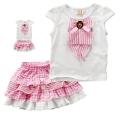 TYW Lovely Pink 2 Pcs Set 外贸日单粉红色纯棉套装裙