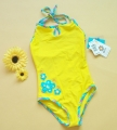 Tag UV Flowers Yellow Swimsuit 防晒UV连体泳黄衣色