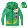 Thomas & Friends Jacket 卡通蓝色火车头印花纯棉大卫毛圈拉链带帽外套 (Design 4)