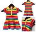 WONDER KIDS Rainbow Stripe Dress 女童彩色条纹款短袖衫